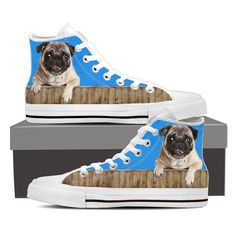 Pug On A Fence High Top