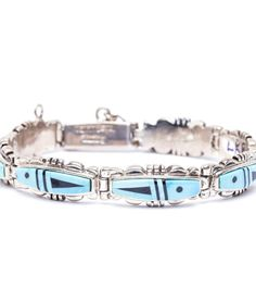 Check out this new and stylish Turquoise Link Bracelet from famous Navajo designer Calvin Begay! $495.00 https://www.oldtownjewels.com/product/navajo-calvin-begay-turquoise-link-bracelet/