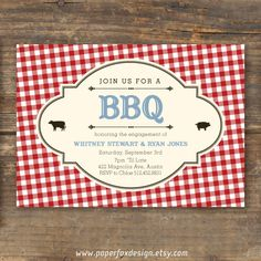 BBQ Invitation  DIY Printable  Red Gingham by PaperFoxDesign, $12.50