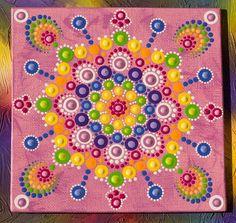 Original doiley rose carré Dot peinture avec mandala colorée