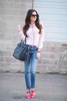 Giveaway... ( Shirts & Blouses & Bleached Denim Jeans )