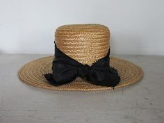 Vintage Amish Straw Boater Hat