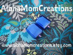 Clear Blue Periwinkle Earrings by AlohaMomCreations on Etsy #alohamomcreations #periwinkleearrings