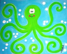 Otto the Octopus painting custom kids wall art by kryshasCreations