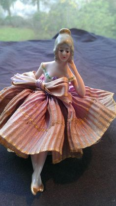 """Tiny Vintage Antique Porcelain Pin Cushion Half Doll with legs (3"""" with cushion)"""