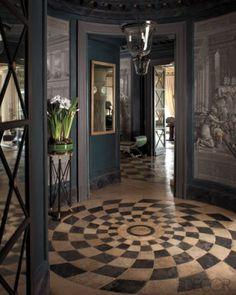 b/w checkerboard + french doors + entryway
