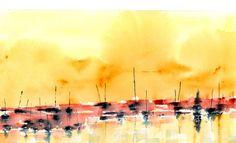 INDIGO BOATS Watercolour by Paul Taylor