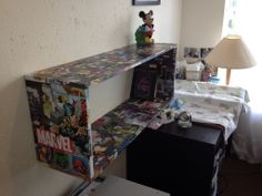 Decoupage comics onto chipboard and assembled it with nails and small brackets to make a colorful shelf. Made for Christmas as a gift for my wife and son. Cool Things To Make, How To Make, Gifts For My Wife, Decor Ideas, Craft Ideas, Diy Interior, Chipboard, Furniture Projects, Homemade Gifts