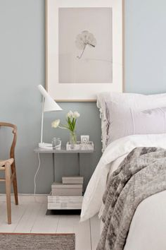 Cool and pretty bedroom in whites, greys and duck egg blue