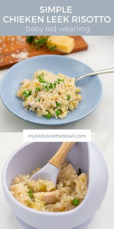 Chicken and Leek baked risotto a great baby food idea and family meal. Perfect kid friendly lunch or dinner. Healthy Family Dinners, Healthy Meals For Kids, Family Meals, Kids Meals, Healthy Recipes, Baked Risotto Recipes, Baby Food Recipes, Dinner Recipes, Kids Board
