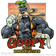 Fun illustration I created of Goofy as a tough guy, illustrated for a group in Norway. It was fun coming up with things to tattoo on his muscles. Fun Illustration, Tough Guy, Design Graphique, Les Oeuvres, Norway, Cartoons, Comic Books, Guys, Comics