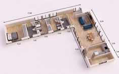 LLORET DEL MAR 120m2 entramado ligero #CasasPequenaIdeias Small Modern House Plans, Dream House Plans, Modern House Design, House Floor Plans, Layouts Casa, House Layouts, Container House Plans, Container House Design, Home Design Floor Plans