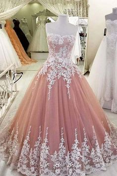 Pink organza sweetheart lace applique A-line long prom dresses,strapless dress