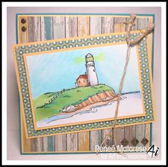 Art Impressions Rubber Stamps: Lighthouse Background ... handmade masculine birthday or Father's Day card.  Nautical, beach, cliffs, light house