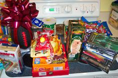 food items, games, and toys we sent to soldiers in a care package.