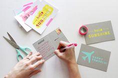 DIY Chipboard Postcard Tutorial + Free Silhouette Download by Ann-Marie Morris | via Ali Edwards
