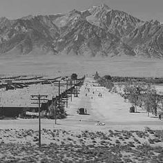 Manzanar Relocation Center from tower / photograph by Ansel Adams. Ansel Adams Photography, Image Photography, White Photography, Sierra Nevada, Different Points Of View, California History, Japanese American, Photography Projects, Landscape Photographers