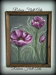 """Recycled old window screen hand painted """" Poppies"""", flowers, flower art, summer, spring, unique, handmade, hand painted, original >>> Details can be found by clicking on the image."""