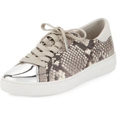 Michael Michael Kors Frankie Snake-Embossed Low-Top Sneaker ($145) ❤ liked on Polyvore featuring shoes, sneakers, neutral pattern, leather platform sneakers, lace up flat shoes, platform shoes, low top platform sneakers and platform flats