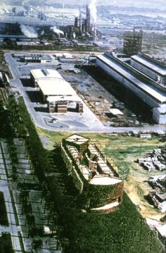 CARBONORCA Service Buildings Complex, Architect Jorge Rigamonti, 1988-90, Aerial view of the Industrial Plant, the 3 Constructed Buildings, and a Drawing of the Unbuilt Administrative Center.