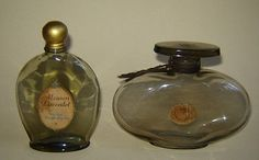 2-OLD-VINTAGE-ART-DECO-SCENT-PERFUME-BOTTLE-SMOKED-GLASS-Mouson-Lavendel-GERMANY