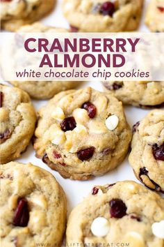 White Chocolate Cranberry Cookies, Cranberry Almond, White Chocolate Chips, Cookie Desserts, Cookie Recipes, Snack Recipes, Dessert Recipes, Dinner Recipes, Cookie Base Recipe