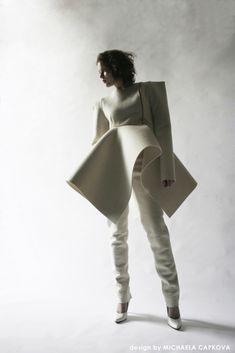 Sculptural fashion construction with square shoulders & bold 3D silhouette // Michaela Capkova
