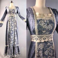 7fd6138c05ded Gunne Sax 70s Dress Vintage 1970s Blue Floral Maxi Prarie Peasant Dress 32  bust #GunneSax #Maxi #Everyday