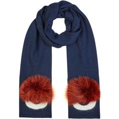 Fendi Monster blue fur-trimmed wool scarf (1 019 000 LBP) ❤ liked on Polyvore featuring accessories, scarves, fendi scarves, wool scarves, red scarves, wool shawl and woolen shawl