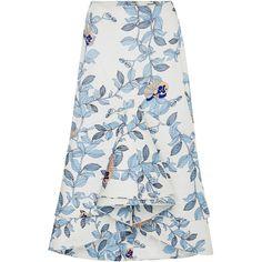 Johanna Ortiz Jasmine Skirt (2.850 BRL) ❤ liked on Polyvore featuring skirts, high-waisted midi skirts, floral print skirt, floral skirt, high waisted midi skirt and midi skirt