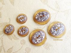 6 vintage button brown golden glitter from Coco Supplies - crochet applique, fabric button, gift tag, clothepins, vintage buttons by DaWanda.com