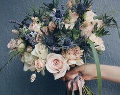 Dusty Slate Steel Blue Sola Wood Flower Bouquet Faux and dried | Etsy