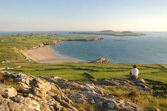 - Looking down to Whitesands beach, Pembrokeshire Coastal Path