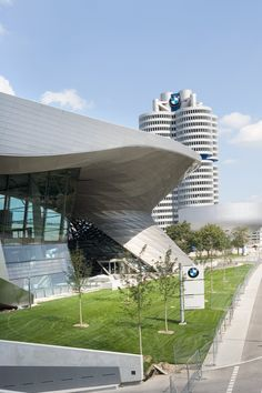 Perforated Construction Building Facade made of perforated stainless steel sheets, BMW world Munich, Dillinger