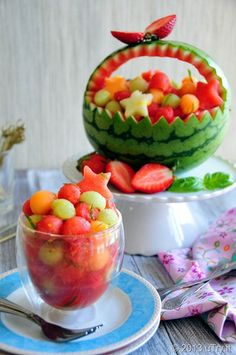 Sparkling Watermelon Bubbles — with Carving Pictorial for @Kitchen PLAY.  It's really an all year-round treat!  :)