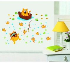 Fishing Cats wall sticker available at www.kidzdecor.co.za. Free postage throughout South Africa