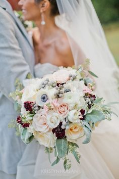 Blush, white, and pops of blackberry - just the most romantic bunch ever #cedarwoodweddings An American Fairytale :: Mayra+Kevin, Part 2 | Cedarwood Weddings