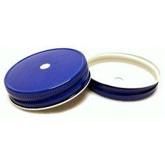 Royal Blue Mason Jar Lids with Straw Hole (12)