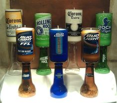 Beer Bottle Candle... Cool for an outdoor bar/patio this would be cool w/o the bottom stem