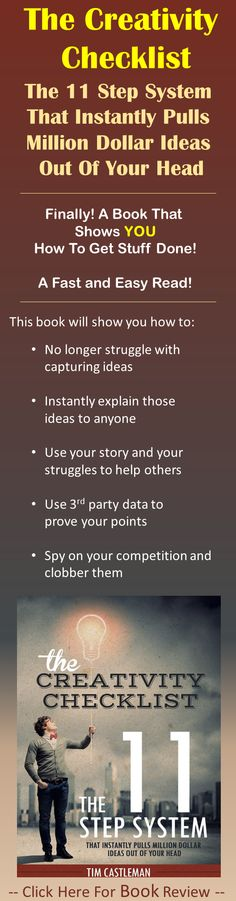 After reading this #book, I felt it only fair to leave an honest #review. I can state that I was blown away. See for yourself what I am #talking about here: http://www.publishhowto.com/creativity-checklist-review/