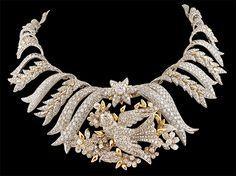 Tiffany & Co. Platinum & 18kt. Gold Schlumberger Diamond Bird Necklace.