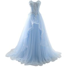 MILANO BRIDE 2017 Vogue Evening Prom Dress Strapless A-line Ruffles... (€77) ❤ liked on Polyvore featuring dresses, blue prom dresses, holiday cocktail dresses, blue cocktail dresses, a line cocktail dress and evening dresses