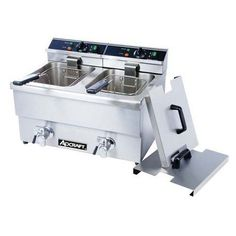 AdCraft Stainless Steel 208V Dual Basket Deep Fryer With Faucet DF-12L