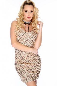 Sexy Taupe Chevron Sequin Sleeveless V-Cut Party Dress