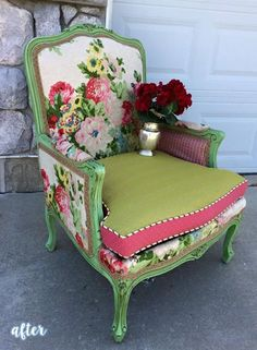 Pink and Green Floral Chair
