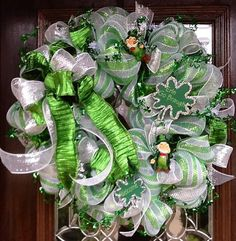 st.+patrick+mesh+wreath | ST PATRICK'S DAY Deco Mesh Wreath by decoglitz on Etsy, ... | Wreaths