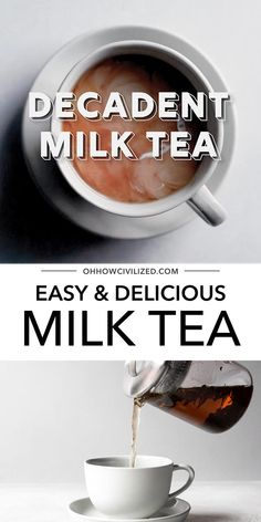 This milk tea from Oh, How Civilized is a delicious creamy beverage that is perfect for any tea time. This delicious milk tea is easy to make at home. Grab this easy recipe and try a decadent milk tea today! #milktea #tea #hottea #homemade #blacktea #teaguide Milk Tea Recipes, Drink Recipes, English Breakfast Tea, Latte Recipe, Tea Latte, Tea Sandwiches, Beverages, Drinks, Brewing Tea
