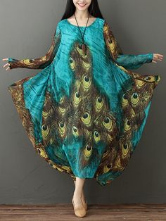 83fd927fda Gracila Vintage Women Peacock Feather Print Dress at Banggood Floral Dresses  With Sleeves