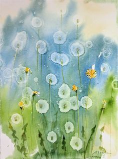 Today's Painting and Video: How To: Dandelion watercolor painting using Alcohol . - Today's Painting and Video: How To: Dandelion watercolor painting using Alcohol droplets - Watercolor Cards, Watercolour Painting, Watercolor Flowers, Painting & Drawing, Watercolours, Dandelion Painting, How To Watercolor, Dandelion Drawing, Dandelion Seeds