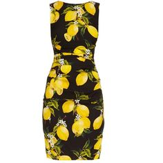 Dolce & Gabbana Lemon-print ruched silk dress ($1,909) ❤ liked on Polyvore featuring dresses, black yellow, yellow dress, ruching dress, sleeveless pencil dress, yellow pencil dress and pencil dress